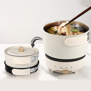 220V Multifunction Electric Hot Pot with Folding Handle Mini Portable Travel Induction Cookers Split Type Cooking Pot 1.2L
