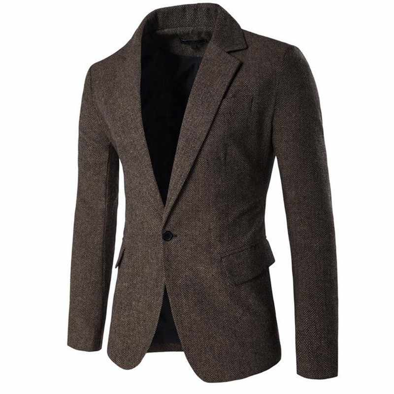 2020 Nieuwe Herfst Heren Blazer Mode Solid Single Button Revers Kraag Blazer Mannelijke Business Casual Slim Fit Pak Jassen M-2XL