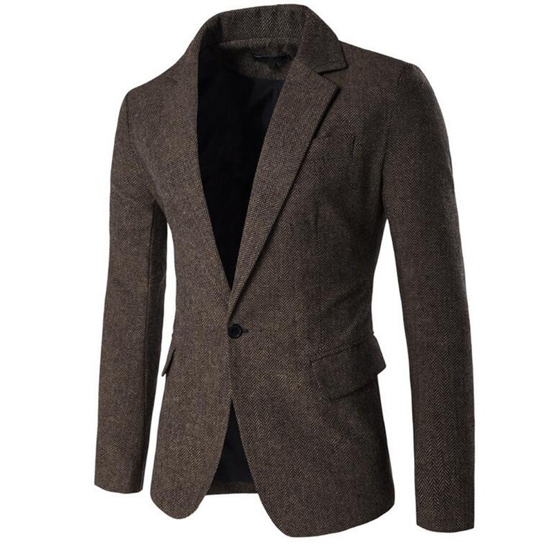 2020 New Autumn Mens Blazer Fashion Solid Single Button Lapel Collar Blazer Male Business Casual Slim Fit Suit Coats M-2XL