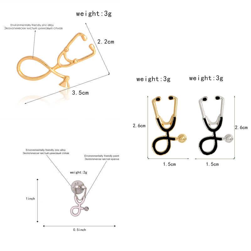 Multicolor Medis Pin Alat Medis Stetoskop Bros Lencana Tas Enamel Pin Hadiah untuk Dokter Teman Perhiasan Grosir