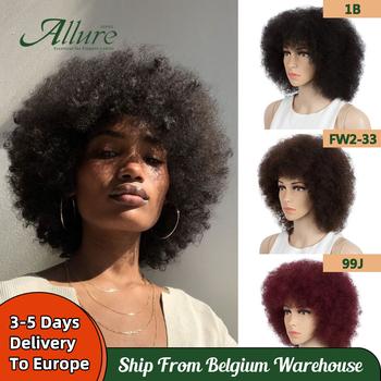 Fluffy Afro loków peruka dla czarnych kobiet 150 Remy brazylijski ludzki włos krótki Sassy ludzki włos peruki naturalna brązowa Burgendy Allure tanie i dobre opinie CN (pochodzenie) Remy włosy Sassy Curl Brazylijski włosy Średnia wielkość Ciemniejszy kolor tylko WH Afro Curl 14 Inches