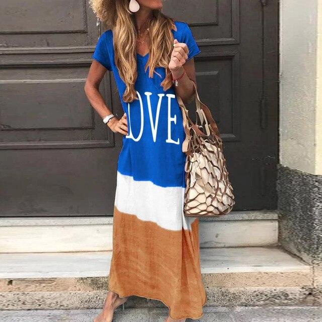 2020 Maxi Long Dress Summer Dress Women Letter Print Patchwork Sundress Casual Loose Plus Size Sexy V Neck Vestidos 2