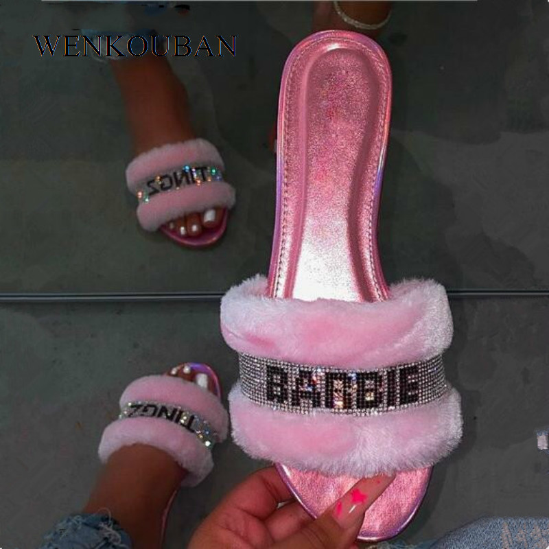 2020 Home Slippers Women Fur Slides Baby Pink Flip Flops Bright Diamond Indoor Shoes Hair Slippers For Women Zapatos De Mujer