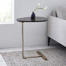 Joylive simples e moderno mesa lateral ferro arte sofá mesa de canto preguiçoso leitura de cabeceira oval mesa de café chá bancada de madeira maciça