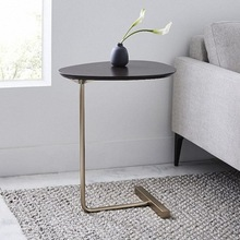 JOYLIVE Simple Modern Side Table Iron Art Sofa Corner Table Lazy Bedside Reading Oval Coffee Table Tea Solid Wood Counter Top