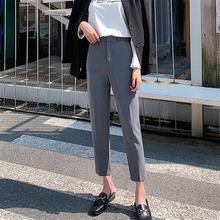 Hzirip 2021 coreano feminino breve perna larga calças primavera à moda sólida plus size todos os jogos fino chique senhora do escritório de cintura alta
