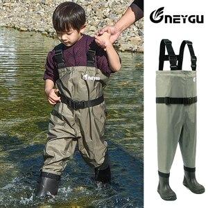 Image 3 - NEYGU pantalons de wading imperméables pour enfants avec bottes dhiver, wader respirant pour enfants pour la pêche et jeux deau