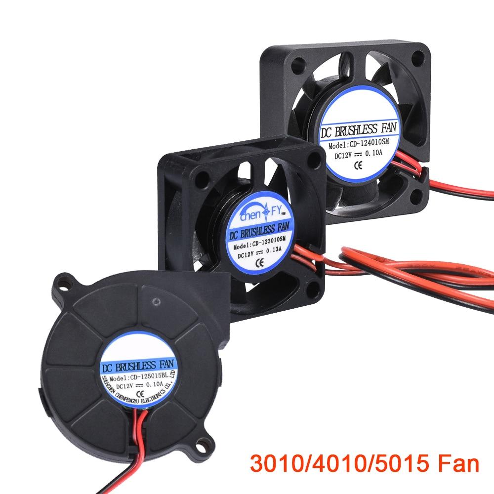 3D Printer Parts 3010 4010 5015 Cooling Fan 12V 24V 5V Blower Fan Turbo Brushless Fan For V5 V6 Hotend Bowden Extruder J-head