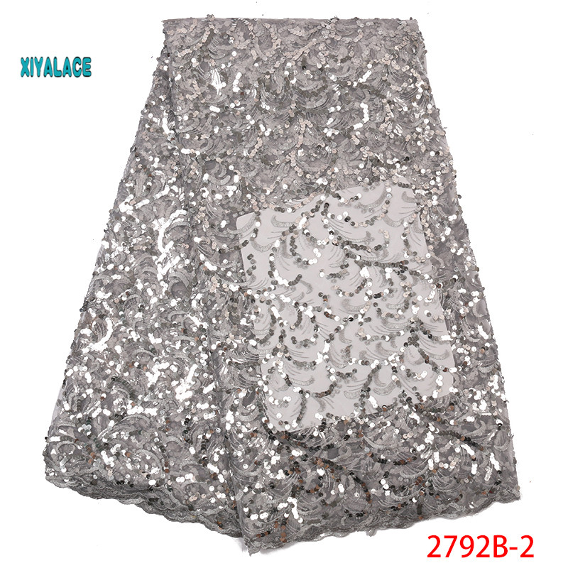 2019 Hot Selling Sequins African African Nigerian Newest Net Lace Fabric Flower Tulle Lace For Wedding Party Dress YA2792B-2