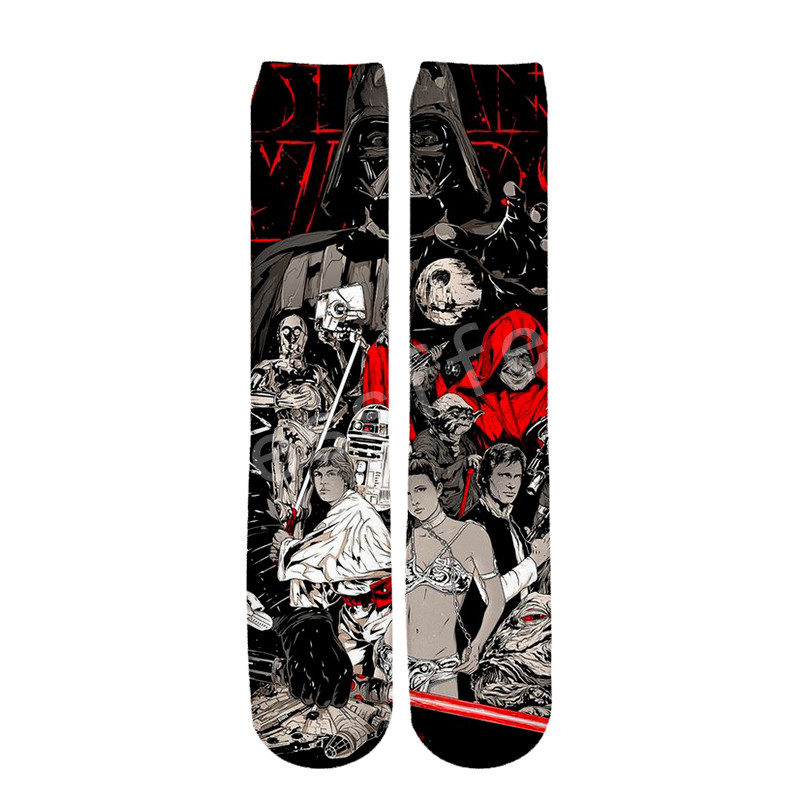 Tessffel Star Wars Darth Vader New Fashion Harajuku Casual Unisex 3Dfull Print Boys/girls/mens/womens Funny Ankle Socks Style-1