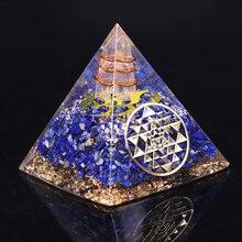 Orgonit takı piramit doğal Lapis Lazuli orgon enerji jeneratörü çakra şifa/Emf koruma ve meditasyon dekorasyon
