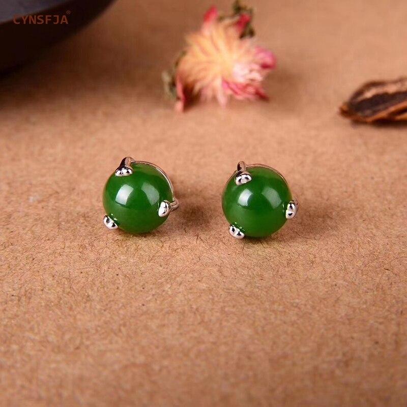 Cynsfja real certificada natural hetian jade jasper 925 prata esterlina jóias finas feminino amuleto verde jade brincos melhores presentes