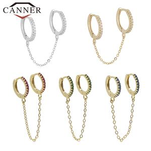 Earrings 925-Sterling-Silver Gold Charming Women Fashion Round Trendy for 1pcs Chain