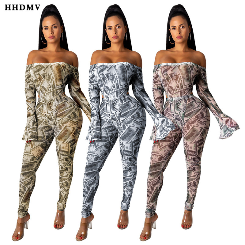 HHDMV FM1198 sexy beach style jumpsuits long sleeve card shoulder hollow out printed tight 3 color jumpsuits long pants