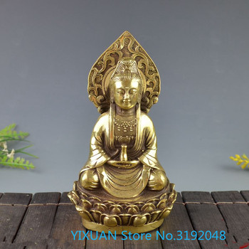 Guanyin statue, Buddha statue brass decoration collection decoration props brass crafts