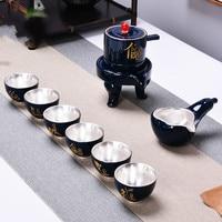 Stein Mühle Semi Auto Kung Fu Tee Set Set Hause Einfache 999 Sterling Silber Set Faul Tee Machen-in Teegeschirr-Sets aus Heim und Garten bei