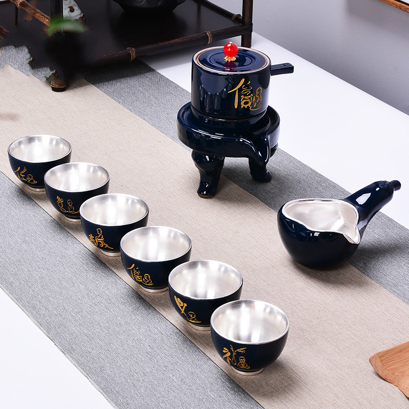 Stone Mill Semi-Auto Kung Fu Tea Set Set Home Simple 999 Sterling Silver Set Lazy Tea Make