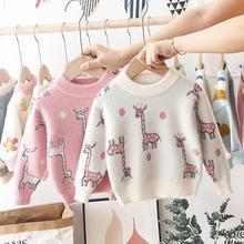 Рождественская одежда для маленьких девочек, новая зимняя одежда для малышей, свитеры для маленьких девочек, милые свитеры для малышей с мультяшным жирафом, вязаные топы для девочек