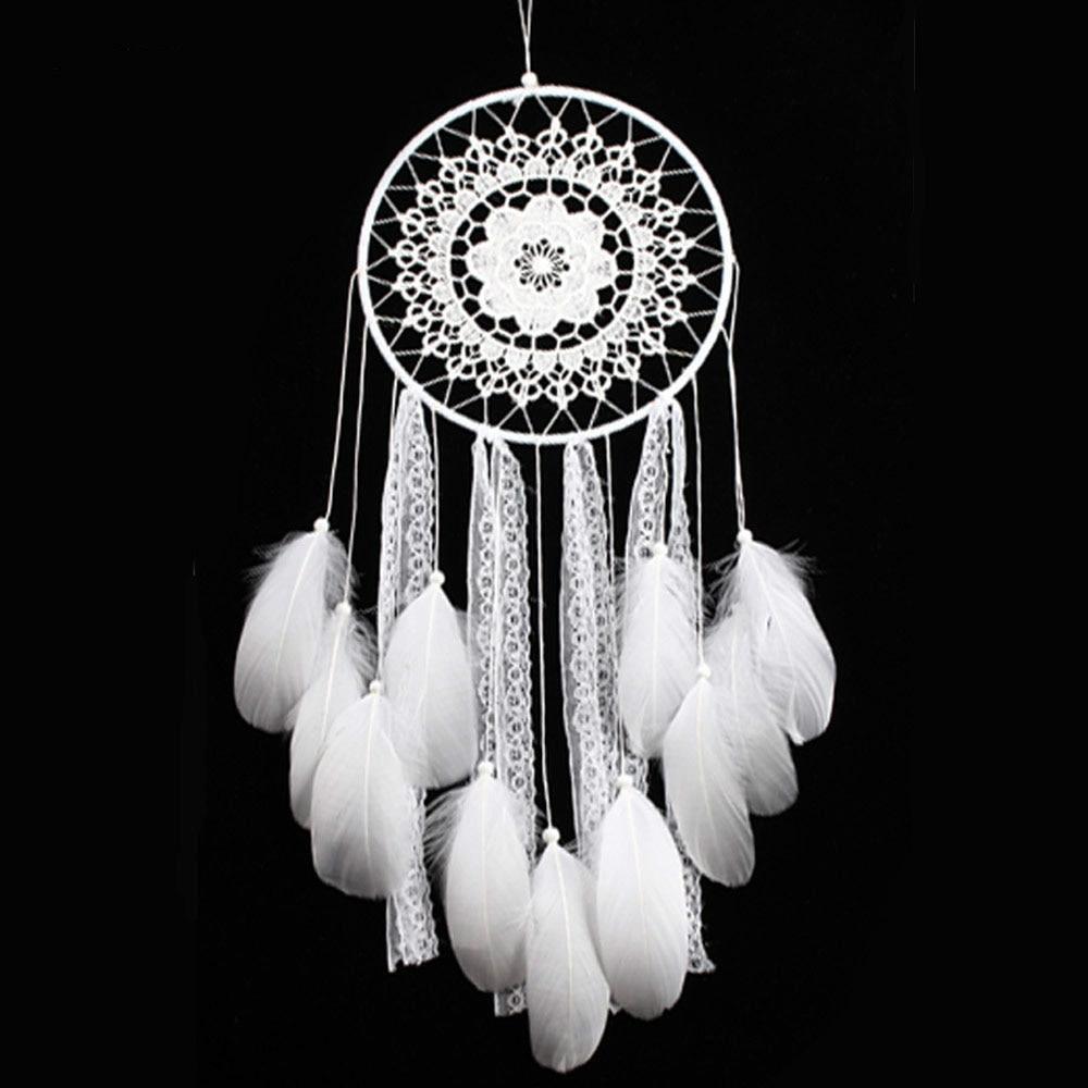 Creatieve Decoratie Ideeen.Creatieve Witte Veer Grote Dream Catcher Indian Kant Netto Decor