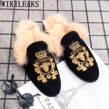 Mules Black Suede Shoes Men Half Shoes For Men Fashion Designer Shoes Men Luxury Zapatillas Hombre Casual Sepatu Slip On Pria