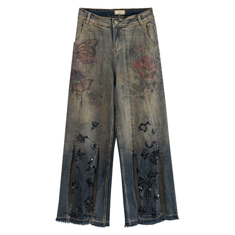 Fall Spring Casual Vintage Women High Waisted Printed Placket Sequined Wide Leg Jeans Pants , Denim Trousers For Woman