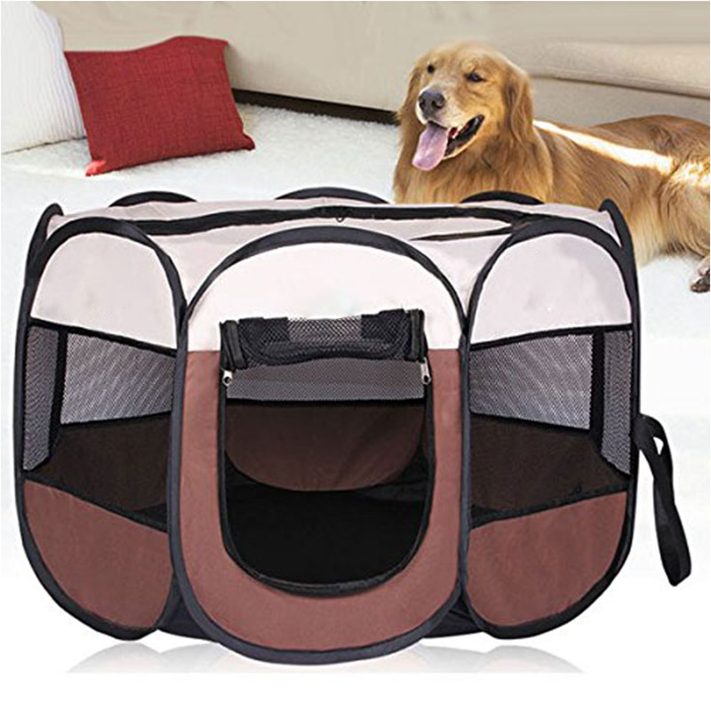 Portable Foldable Dog Cage Pet Tent Houses Playpen Puppy Kennel Easy Operation Octagon Fence Outdoor For Small Large Dogs Crate 1