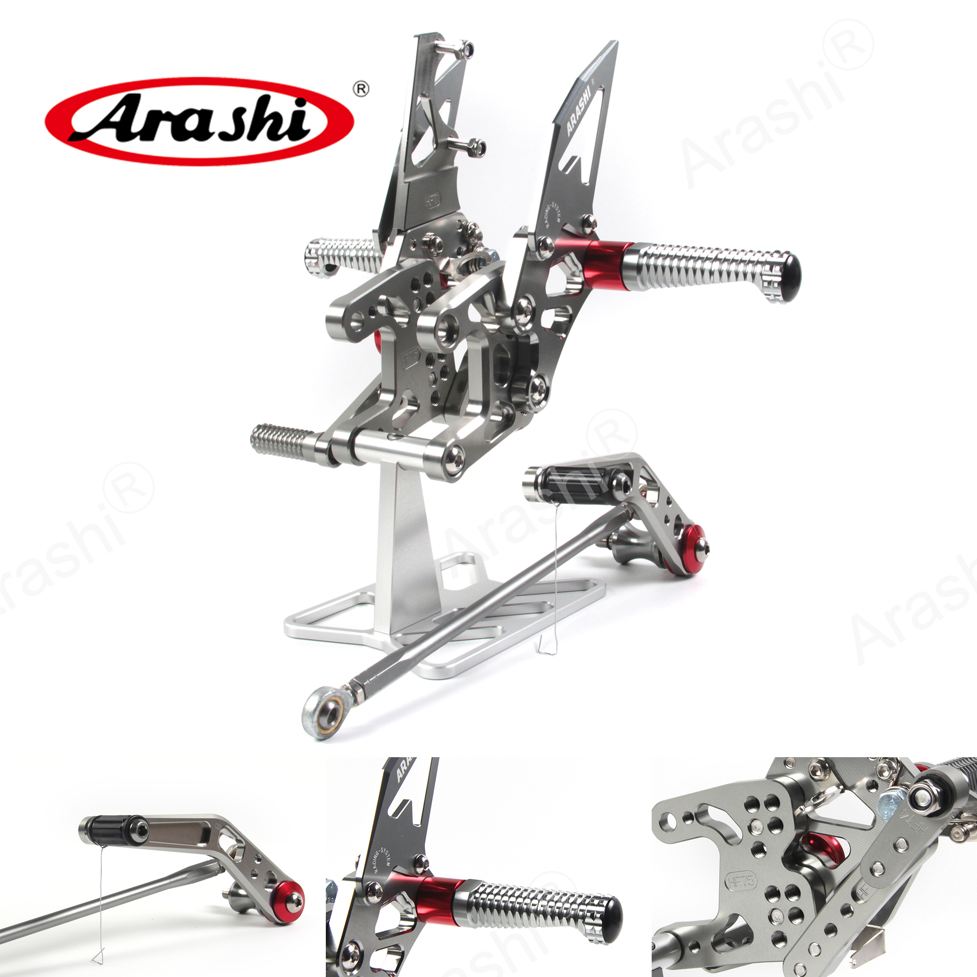 Arashi CBR1000RR 2008 - 2011 CNC Adjustable Footrest Rearsets For HONDA CBR1000 RR 2009 2010 11 10 09 08 1000RR Aluminum Silver