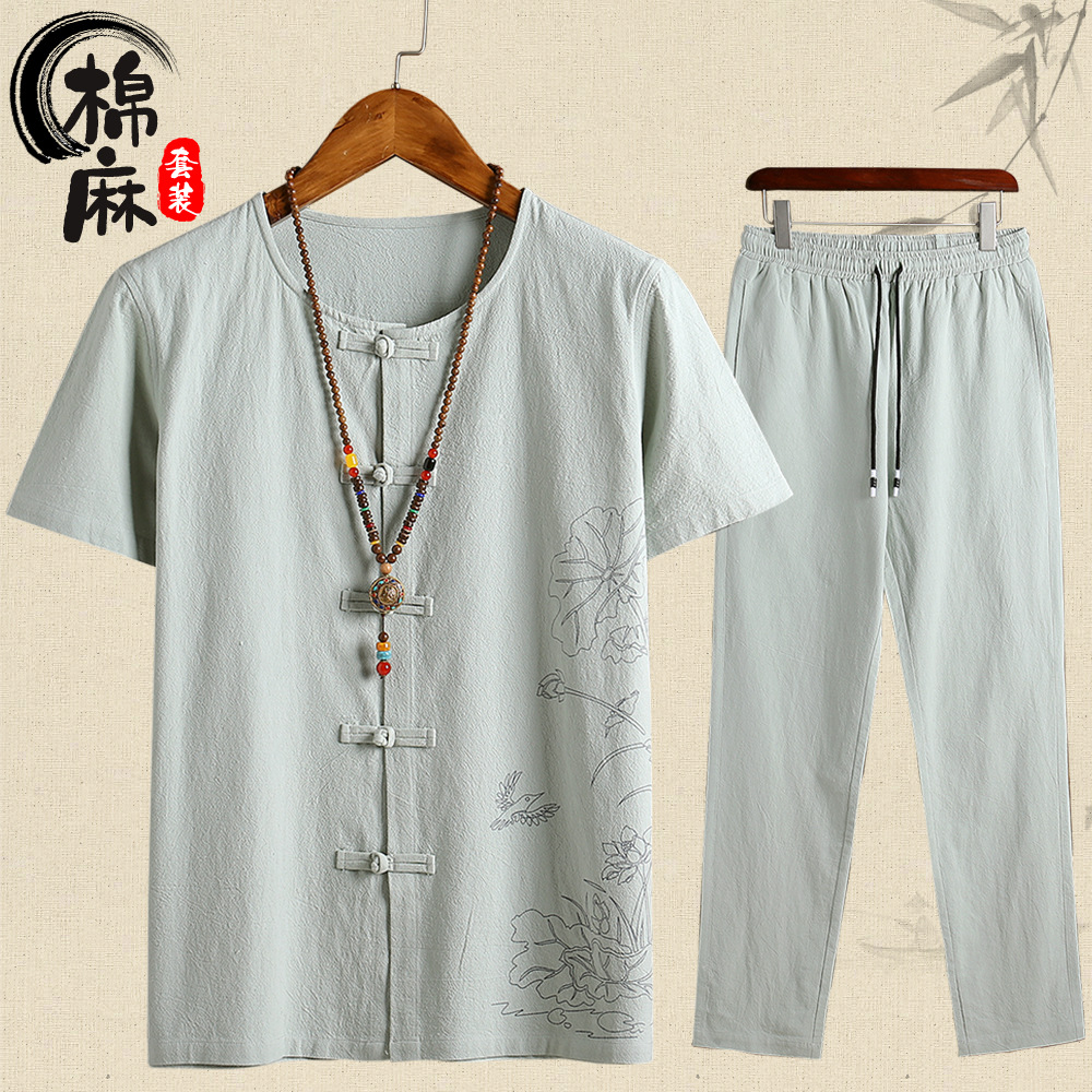 2019 Summer Wear Flax Short Sleeve T-shirt Trousers Cotton Linen Set Men Cotton Linen Casual Chinese Clothing Frog Chinese-style