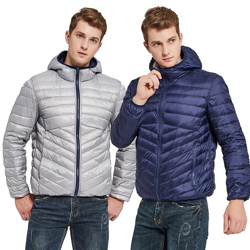 NewBang Men's Down Jacket With Hooded Puffer Ultra Light Down Jacket Men Autumn Winter Double Side Feather Reversible Parka