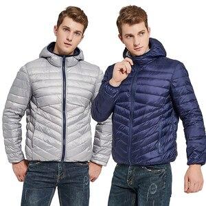 Image 1 - Newbang jaqueta masculina com capuz puffer ultra leve para baixo jaqueta masculina outono inverno duplo lado pena reversível parka
