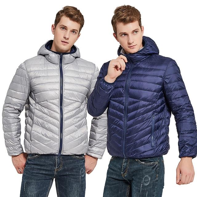 Newbang jaqueta masculina com capuz puffer ultra leve para baixo jaqueta masculina outono inverno duplo lado pena reversível parka