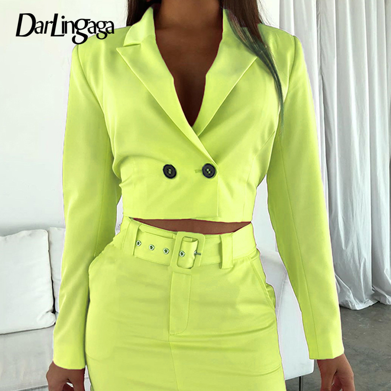 Darlingaga Fashion Neon Color Autumn   Basic     Jacket   Women Slim Party Coat Notched Cropped   Jackets   Double Breasted Outwear Cardigan