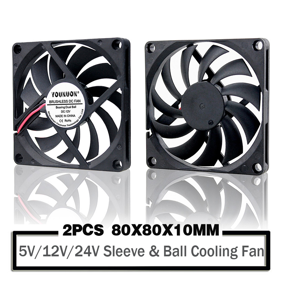 2PCS YOUNUON 80MM 5V USB 80x80x10mm 8cm 5V 12V 24V 8010 2PIN 3PIN Brushless DC Cooling Cooler PC CPU Computer Case  Fan Cooler