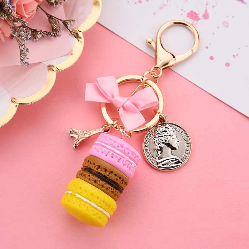 جديد كعكة مفتاح سلسلة أزياء مفتاح السيارة حلقة النساء حقيبة إكسسوارات جذابة فرنسا كعكة ماكارونس مع برج ايفل سلسلة مفاتيح هدية مجوهرات