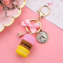 2019 Cake Key chain fashion car Key Ring Women bag charm accessories France Cake Macarons  Eiffel Tower Keychain gift Jewelry 2019 oriange new fashion key chain accessories tassel key ring pu leather bear pattern car keychain jewelry bag charm women gift