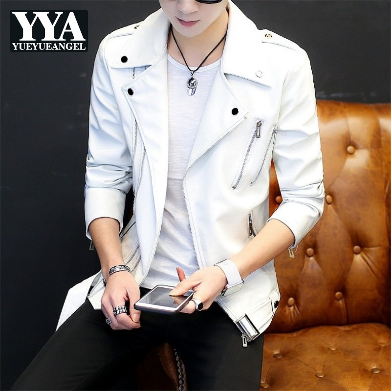 Autumn Handsome Mens Slim Fit Pu Leather Jacket Casual Punk Style Biker Faux Leather Outwear Men Personality Zipper White Coat