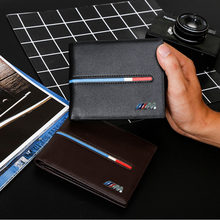 Top PU Leather Black/Brown Car logo Document Bag Wallet Card Package For BMW Car Styling Car Accessories KUNBABY(China)