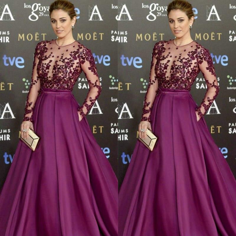 vestido de novia robe de soiree 2018 Red Carpet Long Sleeve Long Formal Evening gown Lace and Satin mother of the bride dresses