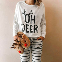 New Womens Long Sleeve T-Shirt Sleep Tops 2019 Christmas Casual Clothes Elk Prin
