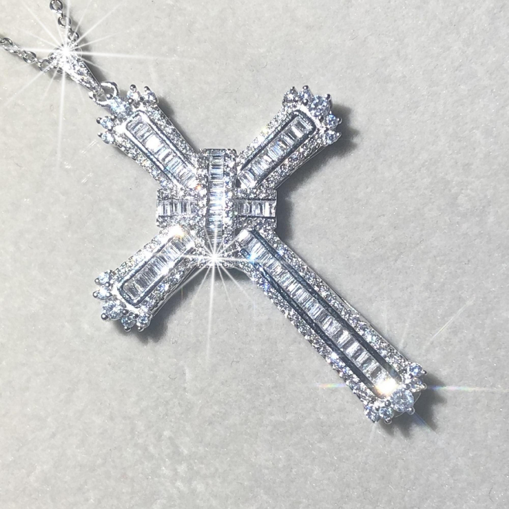 Original 925 Silver Exquisite Bible Jesus Cross Pendant Necklace Women Men Luxury Fine  Jewelry Crucifix Charm Simulated Diamond
