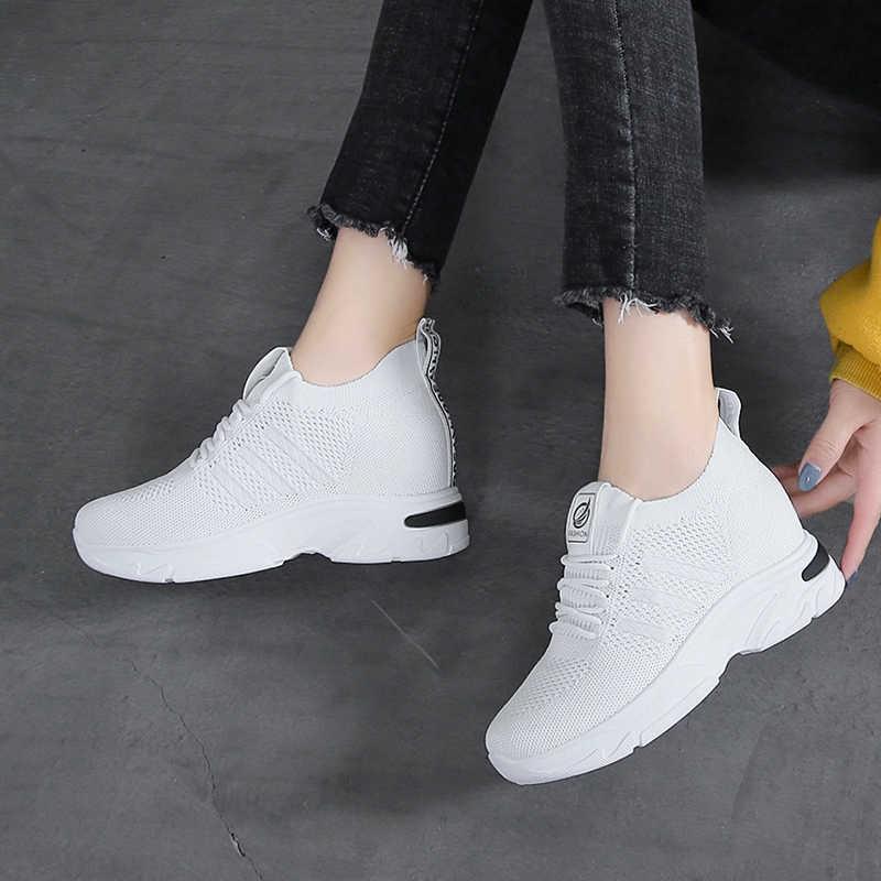 Damyuan 2020 bahar ayakkabı kadın nefes Zapatos De Mujer rahat rahat bayan ayakkabıları Platform örgü loafer'lar