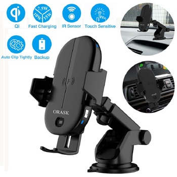 15W Max Qi Certified Fast Charging Mount Car Wireless Charger  With  Intelligent Infrared Sensor Fast Charging Car Phone Holder