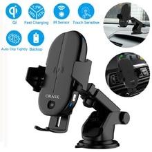 Cargador inalámbrico para coche con Sensor infrarrojo inteligente, soporte para teléfono, carga rápida, certificado Qi, 15W