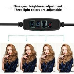 Image 5 - 26cm LED Selfie halka ışık 24W 5500K stüdyo fotoğraf fotoğraf doldurun halka işık iphone için Tripod ile akıllı telefon klip makyaj