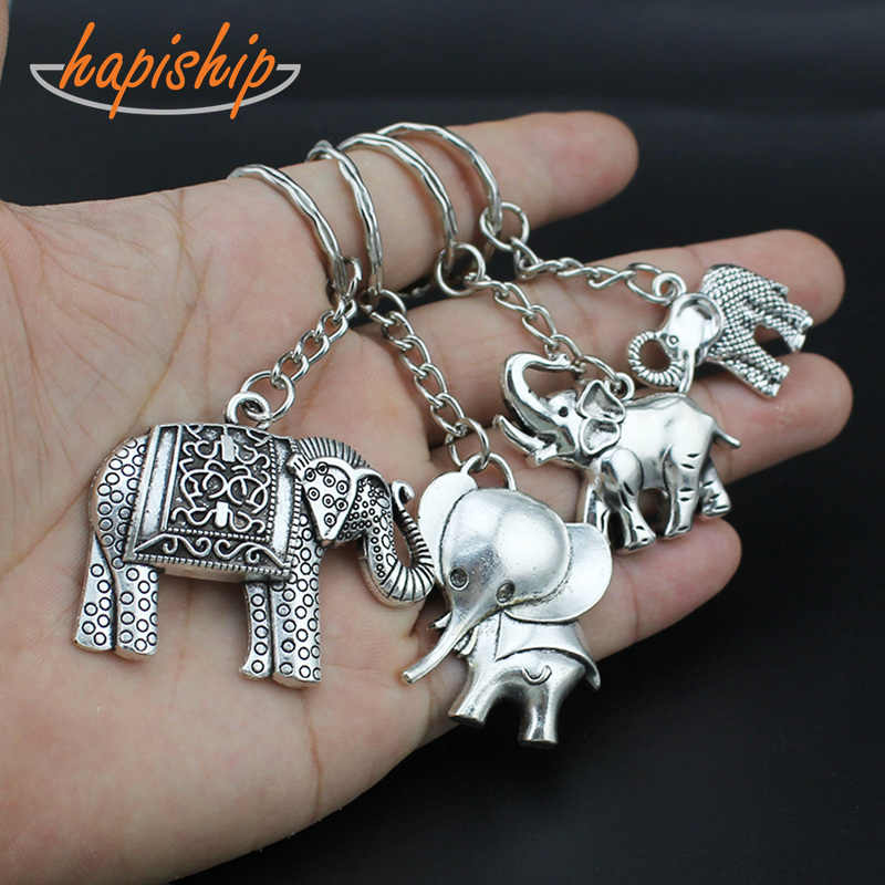 Hapiship 2018 nova moda feminina/masculina vintage prata legal elefante chaveiros chaveiros liga encantos presentes ysdy126 atacado