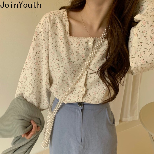 Joinyouth Square Collar Women Tops and Blouses Fashion Vintage Chic Chiffon Blusas Mujer 2020 Button Sweet Shirts New J482 1