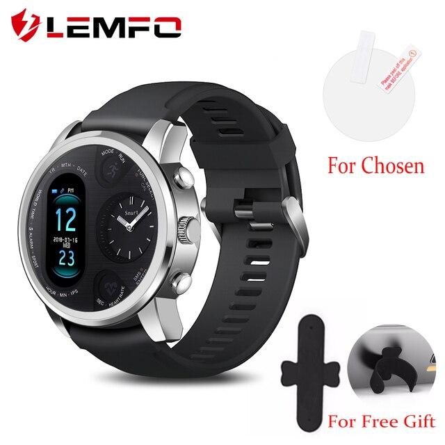 LEMFO חכם שעון עסקי גברים כפול זמן תצוגת אזור קצב לב צג כושר גשש עמיד למים שעון עבור אנדרואיד IOS