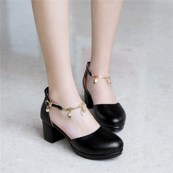 2019 Summer White Black Mary Jane Dress Office Shoes Woman Ladies Chains Buckle Platform Medium Heels Pumps Plus Size