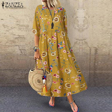 Bohemian Dress Beach-Robe Vestidos Floral Plus-Size Women Casual ZANZEA Summer Holiday-Party