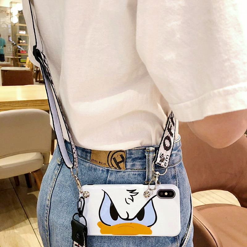 Cartoon Duck Lanyard Crossbody Phone Case For iphone Xs Max Xr Case X XS 7 8 6 6sPlus Necklace Shoulder Strap Soft Silicon Cover